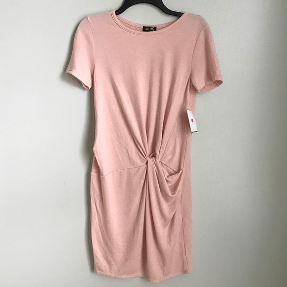 0cb8e242ac3 New Dee Elly Pink Ruched Sweater Dress